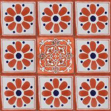 SET A007) 9 MEXICAN TILES CERAMIC TALAVERA MEXICO HAND MADE ART TALAVERA TILE