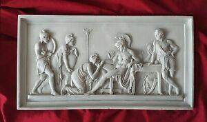 "Priam Begging Achilles Bas-relief - Greek Marble Relief - 50X26CM / 19.5""X10.2"""