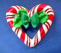 Hallmark PIN Christmas Vintage CANDY CANE Wreath HEART Holiday Brooch