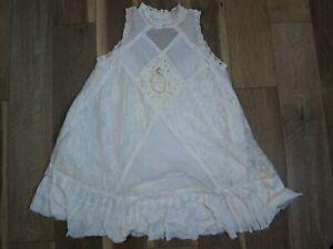 Free People One OB479564 Women's Ivory Cotton Angel Lace Swing A-Line Dress Sz L