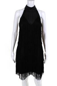 Karen Millen Womens Fringed Satin Mock Neck Sheath Dress Black Size 8