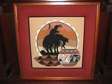 "1984 Southwestern Petit Point Needle Point Framed Picture 25"" x 25"" Karla McCoy"