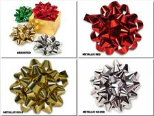 """4"""" Metallic Confetti Gift Bows 24 Loops Easy peel & stick Choose Color and Pack"""