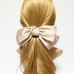 Texas satin hair bow very big satin simple bow french hair barrette for Women
