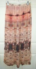 TOPSHOP Women's 4 Sheer Half Lined Pink 2 Slits Abstract Career Long Skirt