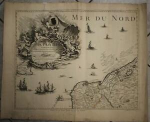 CALAIS DUNKERQUE FRANCE 1742 LE ROUGE UNUSUAL LARGE ANTIQUE COPPER ENGRAVED MAP