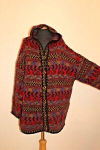 KAFFE FASSETT Amazing hand knitted hooded wool cardigan jacket OS 60'' chest