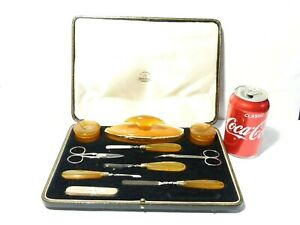 Quality Mappin & Webb Nail Grooming Set Celluloid + Steel 10 Pieces CASED