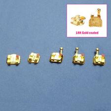 1Set Dental 18K Gold Coated Orthodontic Bracket Mini Roth 022 Braces Hook345