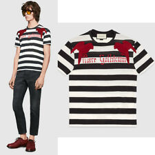 sz L NEW $995 GUCCI MENS Black & White Striped RED EMBROIDERY PARROT Tee T-SHIRT