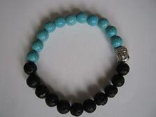 Black Lava Stone & Turquoise Bead Bracelet with Buddha bead & Velvet Gift Bag