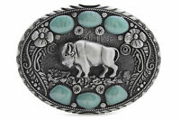 New Men Western Belt Buckle Silver Metal Cowboy Bison Buffalo Ox Bling Turquoise