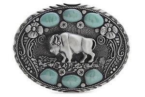 New Men Western Belt Buckle Silver Metal Cowboy Bison Buffalo Ox Bling Turquoise