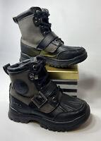 Little Boy's Polo Ralph Lauren Colbey Black Gray Leather Boots Size 11 EUC
