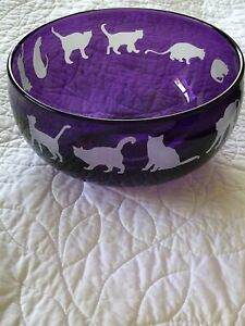 """Correia Glass """"Lilac Cats"""" BOWL in Excellent condition. One owner Neiman Marcus."""
