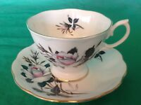 BONE CHINA CUP & SAUCER BY ROYAL ALBERT WHITE ROSE GOLD TRIM