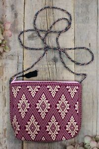 Mayan Padded Shoulder Bag Morral Plum Dusty Rose & Tan Handwoven Chiapas Mexico
