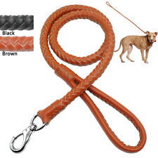Braided Leather Pet Dog Walking Lead Heavy Duty Short Leash for Medium Large Dog