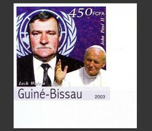 Guinea Bissau 2003 MNH Imperf, Lech Walesa, Nobel Peace, Pope John Paul II