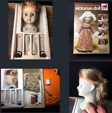 Vintage Doll Craft Kit bisque head limbs needlework Dekker Toys retro Victorian