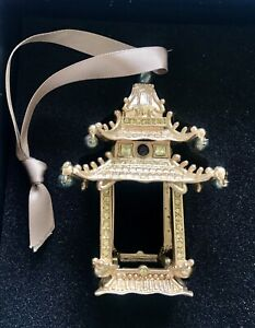 L'Objet Pagoda Gold Crystal Christmas Ornament NEW In Box!