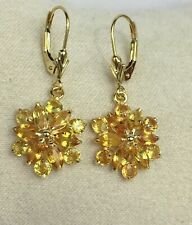 14k Solid Yellow Gold Leverback Cluster Dangle Earrings, Natural Orange Sapphire