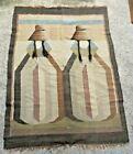 Vintage Native American Peruvian WOOL BLANKET WALL HANGING RUG Tapestry