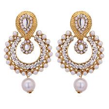 Jwellmart Indian Bollywood Gold Polish Faux Pearl CZ Dangle Fashion Earrings
