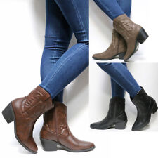 New Women Black Taupe Brown Western Cowboy Ankle Booties Low Heel Riding Boots