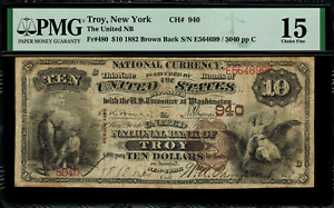 1882 $10 National Troy, New York - Brown Back - FR.480 Charter 940 - PMG 15