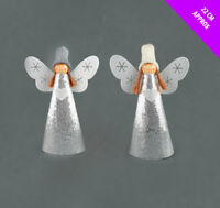 Felt Cone Christmas Angel ( 22cm ) - White and Silver Sequins