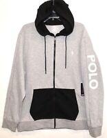 Polo Ralph Lauren Big Tall Mens Black Gray Full-Zip Hoodie Sweat Jacket NWT 2XB