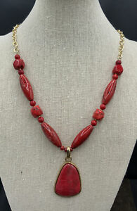 Barse Red Drama Necklace- Magnesite and Bronze- NWT