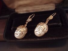 Vintage Jewellery Baroque Pearl with Leaf Drop Pierced Earrings. Haskell Style