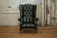 Handmade Antique Green Leathe Highback Wing Chair