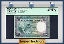 TT PK 34a 1928 ICELAND LANDSBANKI ISLANDS 50 KRONUR PCGS 66 PPQ GEM NEW!