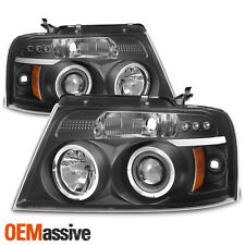 Fits 2004-2008 Ford F-150 Black Halo Projector LED Headlights 04 05 06 07 08