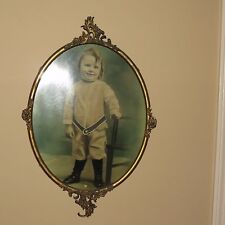 Antique 19th c Large 26 X 17  Ornate French Oval Brass Frame w/ Baby Girl Photo