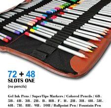 NEW 2 Pack Colored Pencils Roll 48 Slot+ 72 Slot Canvas Pencil Organizer Bag