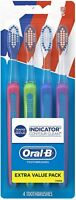 Oral-B Indicator Contour Clean Soft Bristle Manual Toothbrush 4 ea (Pack of 2)