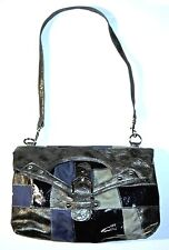 SHOULDER BAG – HAND BAG – CLUTCH – GRAY & BLUE SUEDE PATCHWORK – SIZE L - EXC