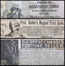 1879 Catalog Showcasing Rare Playing Cards Fortune Telling Americana Magic Goods