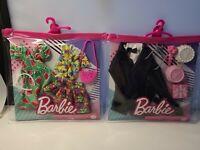 Barbie Fashion 2 Pk Outfits Bridal Groom for Ken Doll & Barbie Watermelon Dress