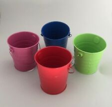 12 Metal Round Bucket With Handle Colored Tin Pot 10cm x 10.8cm New (s)