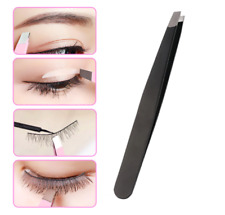1PC Black/Pink Eyebrow Tweezer Hair Beauty Slanted Puller Stainless Steel