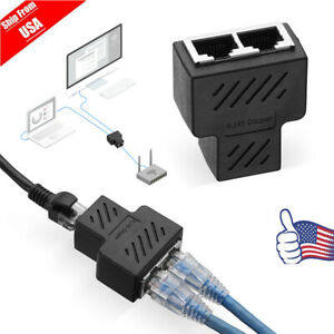 RJ45 Splitter Adapter 1 to 2 Ways Dual Female Port CAT5 /6/ 7 LAN Ethernet Cable
