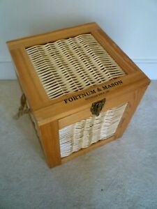 Fortnum & Mason ( F&M) Large Wicker & Wooden Hamper Box with Rope Handles