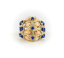 14k Yellow Gold and Lapis Lazuli and Coral Dome Ring. Ring Size: 5.5, 9.36g