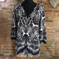 Collection WEEKEND by John Lewis navy white print tunic blouse size 14