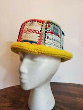 Vintage Handmade Crochet Beer Can Hat - Falstaff Michelob Pabst Hamms Busch 905
